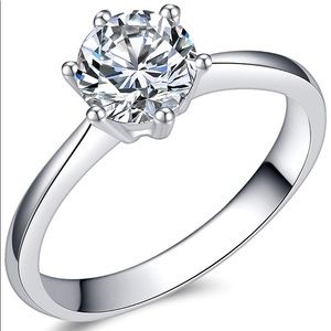 NWT Solitaire Engagement Ring 925 Sterling Silver